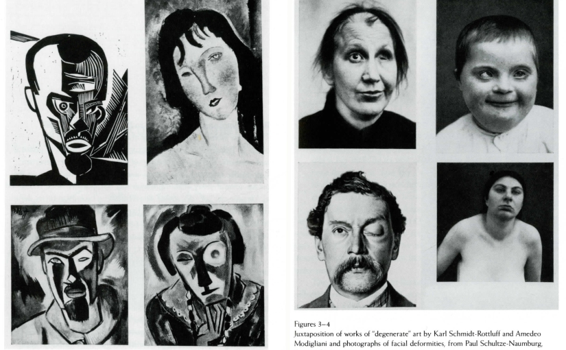 "Juxtaposition of works of ""degenerate"" art by Karl Schmidt-Rottluff and Amedeo Modigliani and photographs of facial deformities, from Paul Schultze-Naumburg, ""Kunst und Rasse"" 1928"