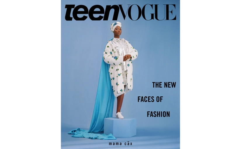 "TeenVogue: What It's Like to Be a Disabled Model in the Fashion Industry SEP 5, 2018. TeenVogue Cover photo of a black woman wearing a white and blue flowered headdress and oversized coat. She is an amputee and stands regally on one leg on a blue pedestal. The words ""The New Faces of Fashion"" appear to the right of her."